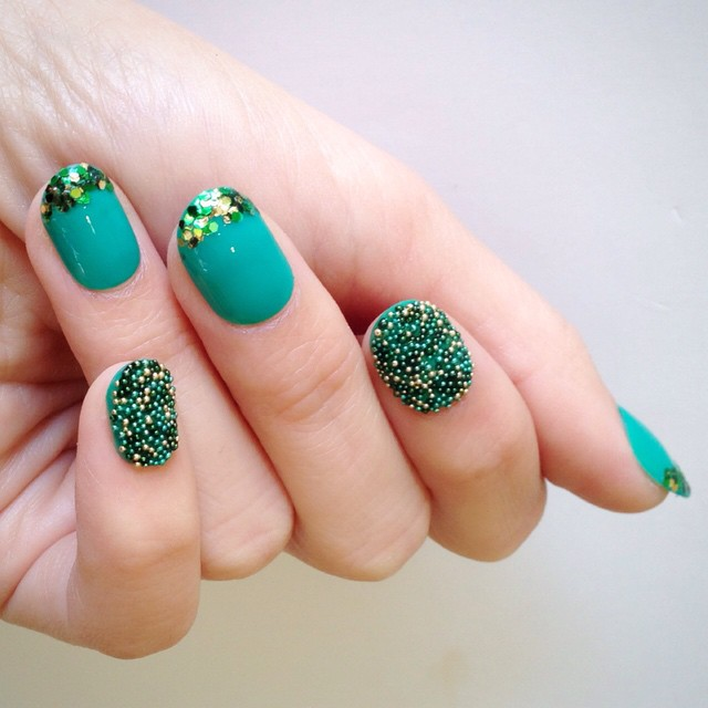 Green Caviar Beads Nail Art Design Idea