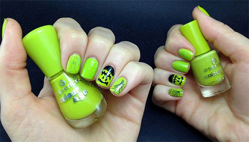 55 most incredible green nail art design ideas for trendy girls green frankenstein face halloween nail art prinsesfo Image collections