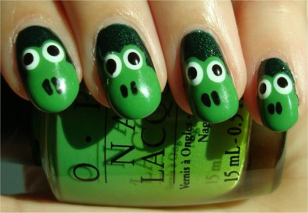 55 stylish green nail art design ideas for trendy girls green frog face nail art design idea prinsesfo Choice Image