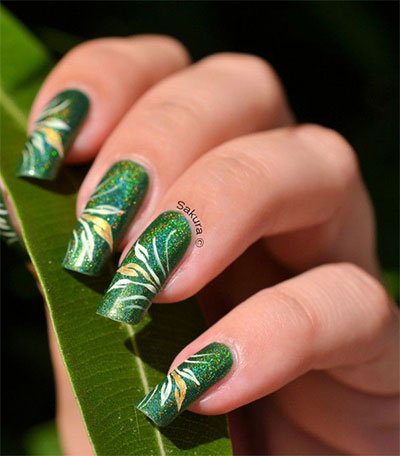 - Green Glitter Gel Flower Petals Nail Art Design Idea