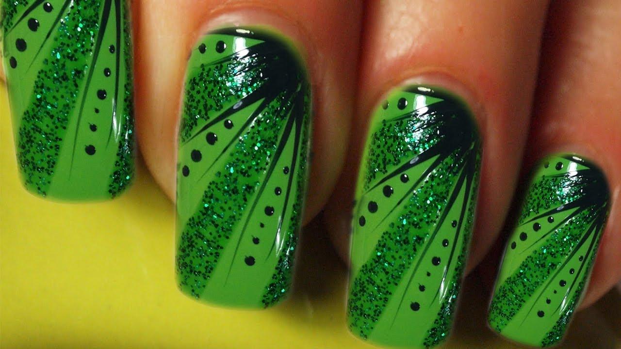 Green glitter stripes and dots design nail art tutorial prinsesfo Choice Image