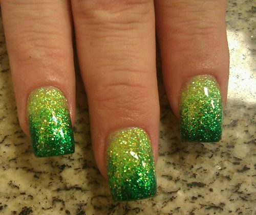 50 most beautiful green nail art designs green gradient glitter nail art prinsesfo Image collections