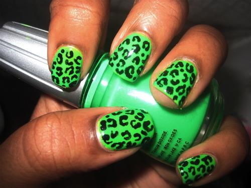 Green Leopard Print Nail Art - 50 Most Beautiful Green Nail Art Designs