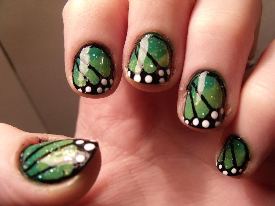 Green Monarch Butterfly Wings Nail Art By Kawaii Panic - 55+ Stylish Green Nail Art Design Ideas For Trendy Girls