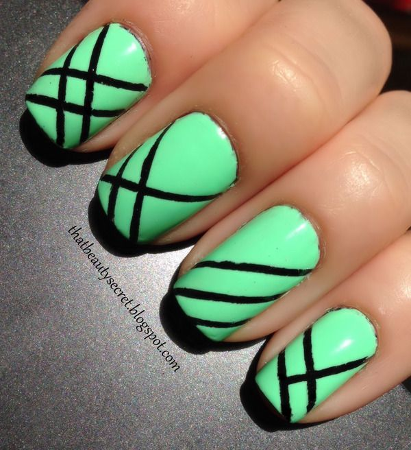 65 most beautiful green nail art design ideas green nails with black stripes nail art design idea prinsesfo Gallery