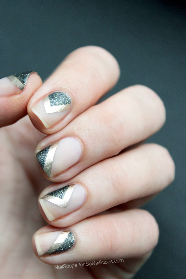 Green Nails With Golden Border Design Negative Space Nail Art