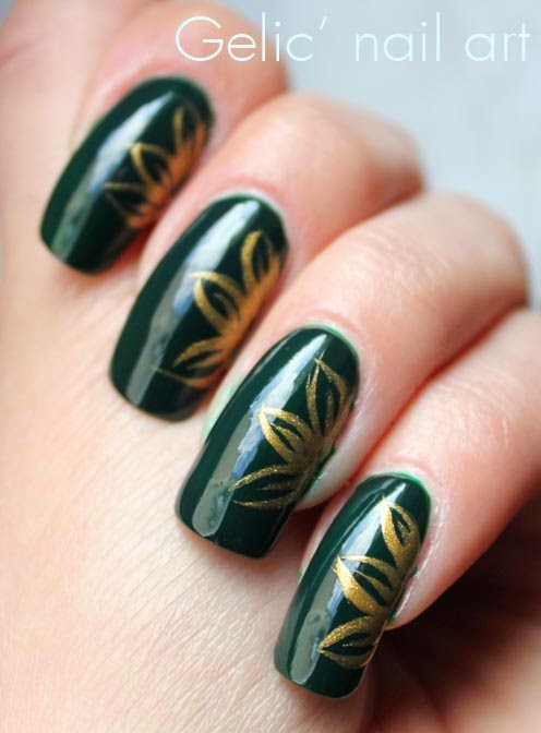 Art Designs: 75 Most Beautiful Green And Gold Nail Art Design Ideas