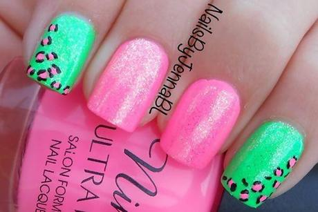 Green and pink nail art best nails art ideas prinsesfo Gallery