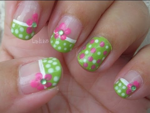 Green nails with pink and white polka dots with 3d flower design green nails with pink and white polka dots with 3d flower design nail art tutorial prinsesfo Gallery