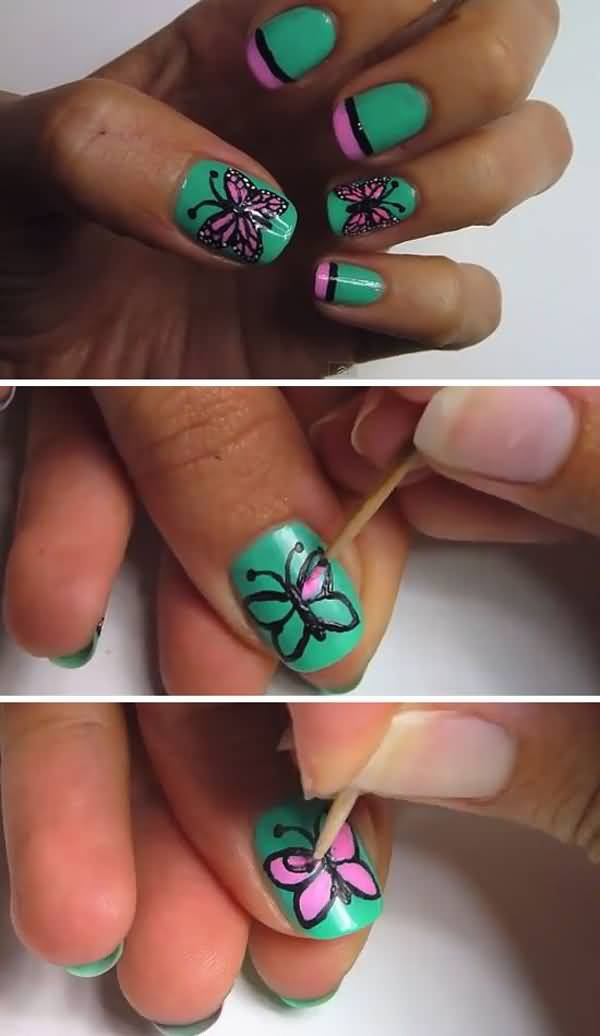 Green Nails With Pink Butterfly Nail Art Tutorial