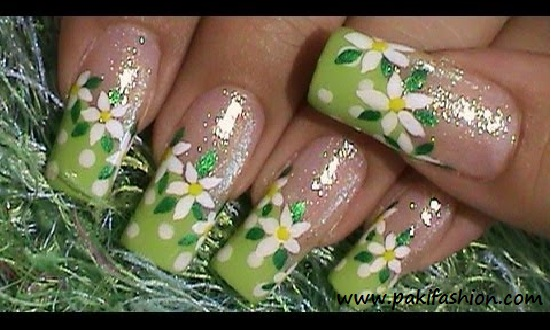 Nail Art Designs Green Colour Hession Hairdressing