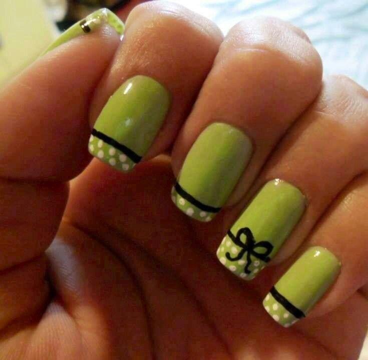 50 most beautiful green nail art designs green nails with tip polka dots and black bow design nail art prinsesfo Gallery