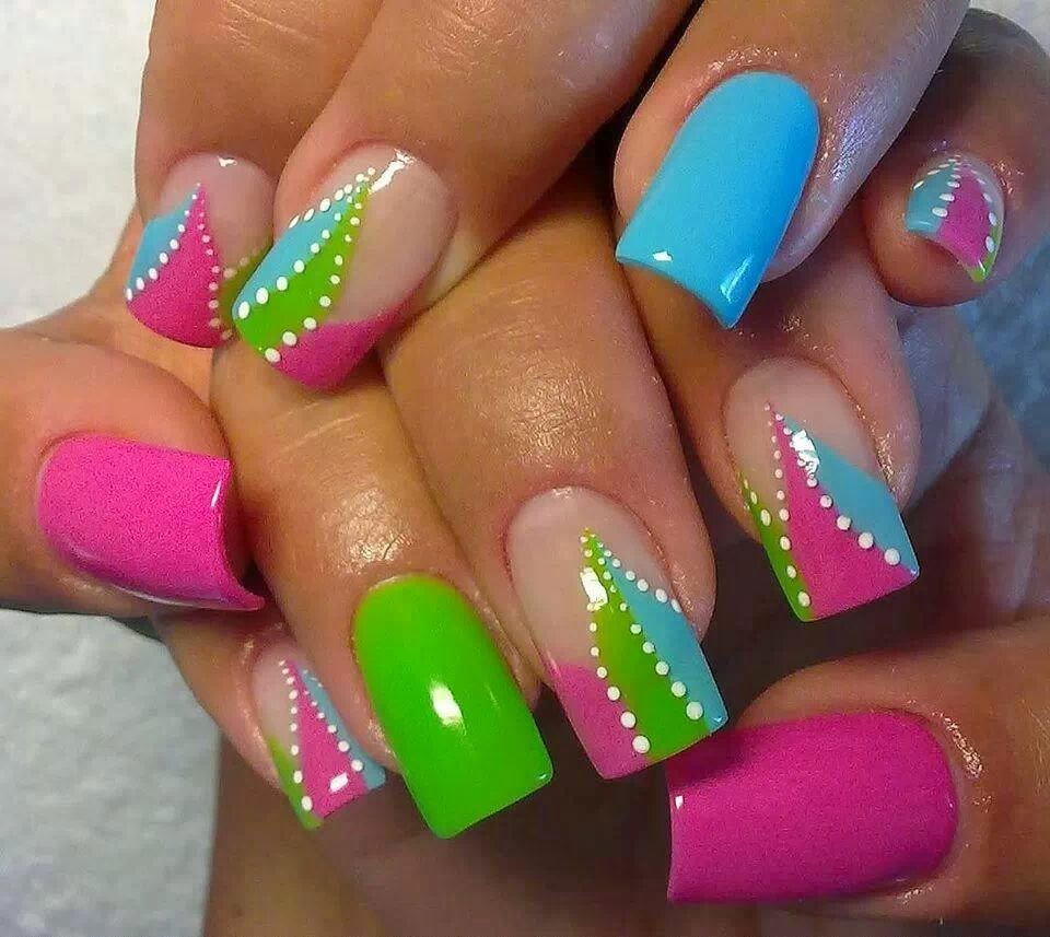 Green Pink And Blue Nail Art Design Idea - 65 Best Green And Pink Nail Art Designs