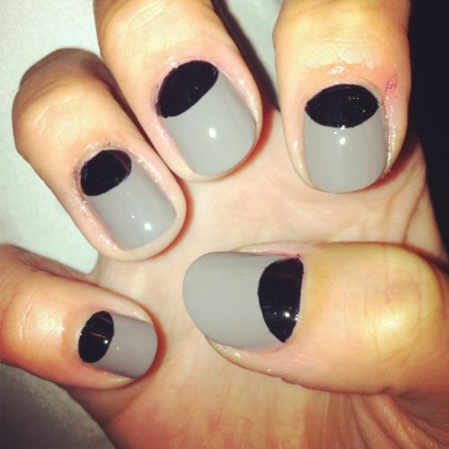 Gray And Black Nail Designs: 23 Beautiful Black Half Moon Nail Art Design Ideas