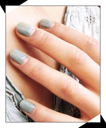 Grey Nails With Half Moon Negative Space Nail Art Design Idea