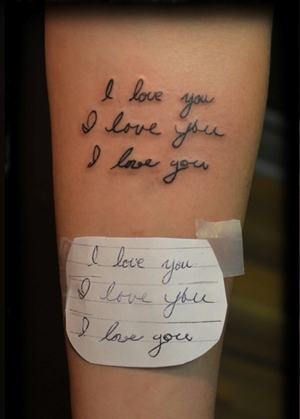 tattoo tattoos arm designs cool say handwriting loved ones japanese phrase someone couple paper forever stencil