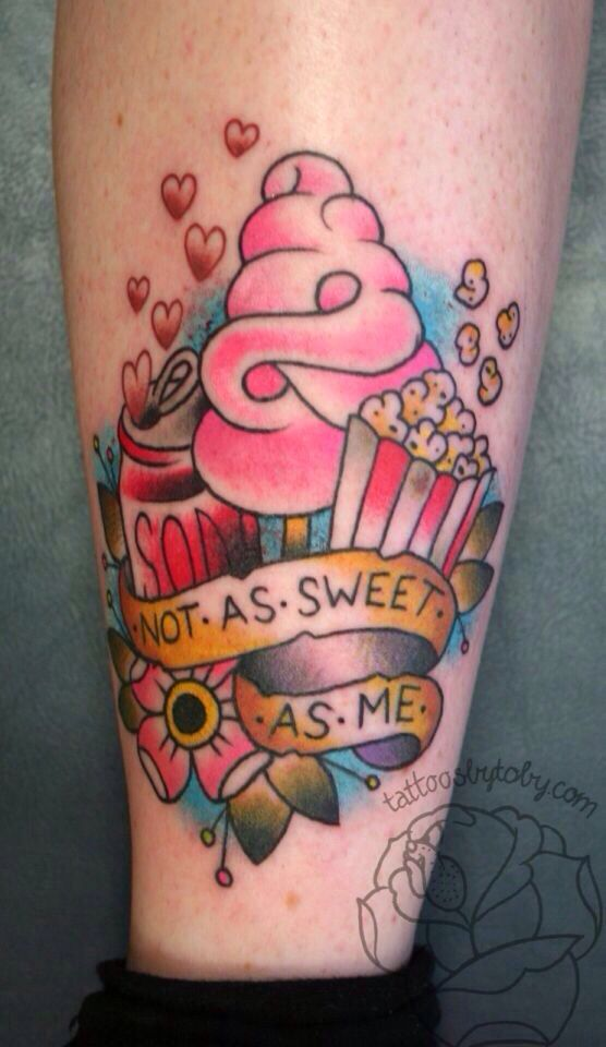 14ea93d4c2c9f Ice Cream With Popcorn And Soda Traditional Tattoo On Leg By Lauren Winzer