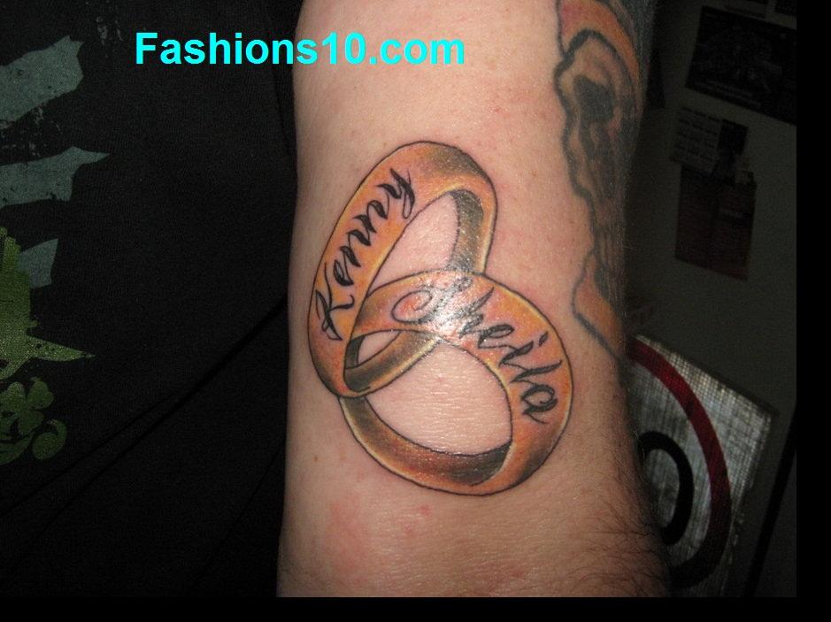 Interlocking Rings Showing Love Tattoo On Arm