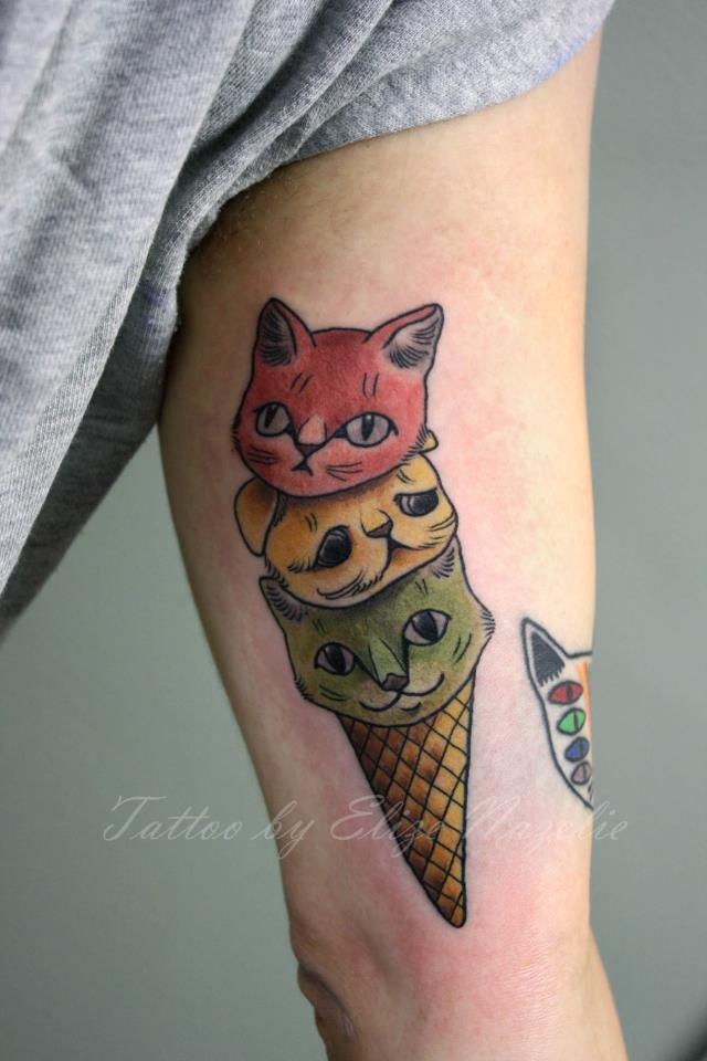New school ice cream tattoo on right half sleeve for girls for Tattoo of ice cream cone on face