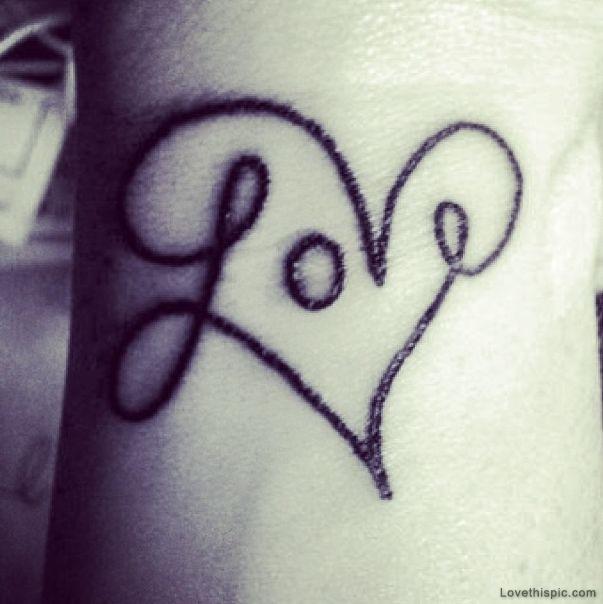 Love In Heart Shape Style Tattoo