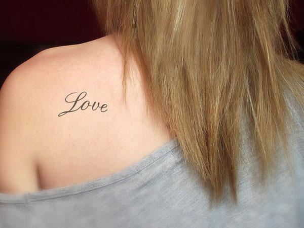 Love Tattoo On Left Back Shoulder