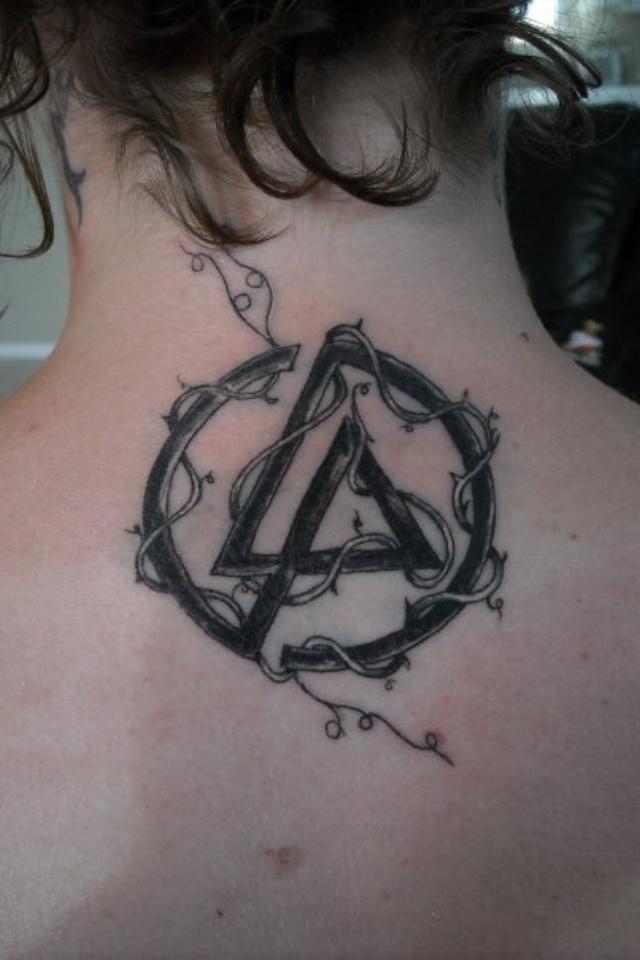 Lovely Linkin Park Symbol Tattoo On Nape For Girls