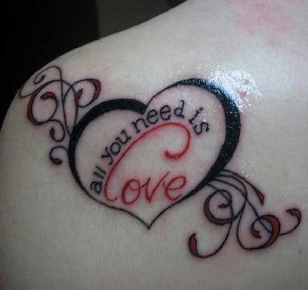 Lovely Love Heart Tattoo On Left Back Shoulder