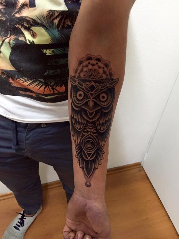 Mandala Flower And Owl Tattoo On Left Forearm