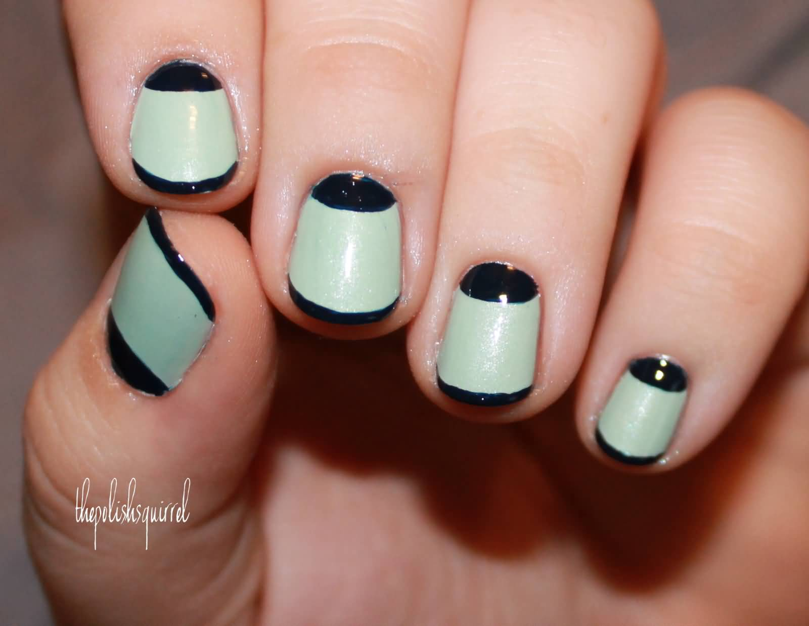 Mint Green And Black Half Moon Nail Art
