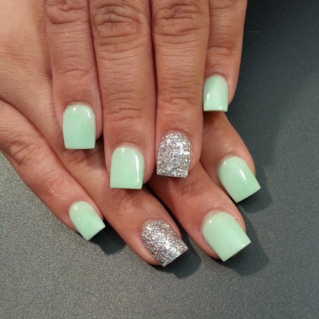 Mint Green Nails With Accent Silver Glitter Design Idea - 50 Most Beautiful Green Nail Art Designs