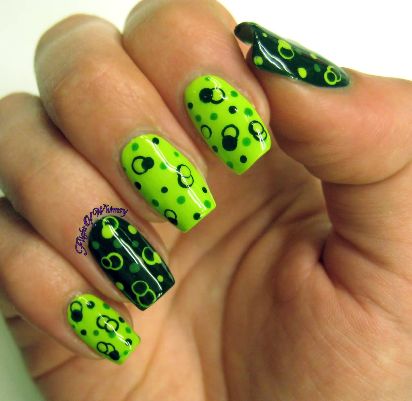 65 most stylish green and black nail art design ideas neon green and black polka dots nail art prinsesfo Images
