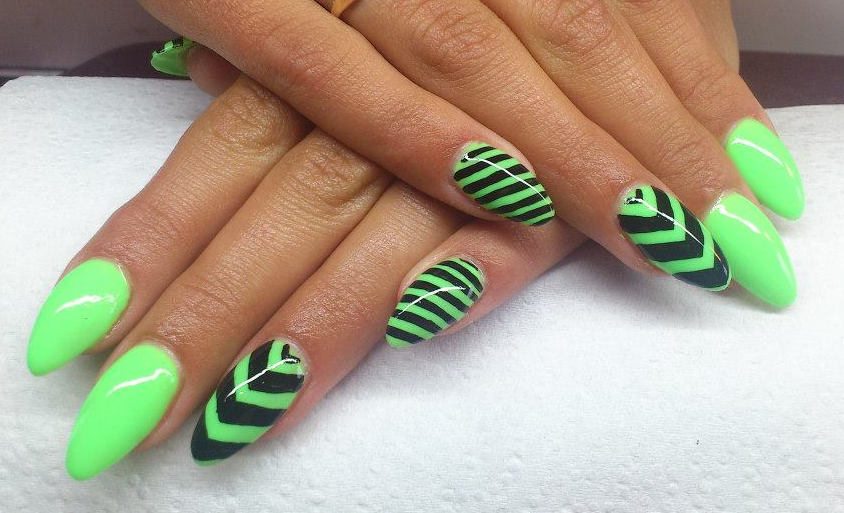 Neon Green And Black Stripes Chevron Design Nail Art