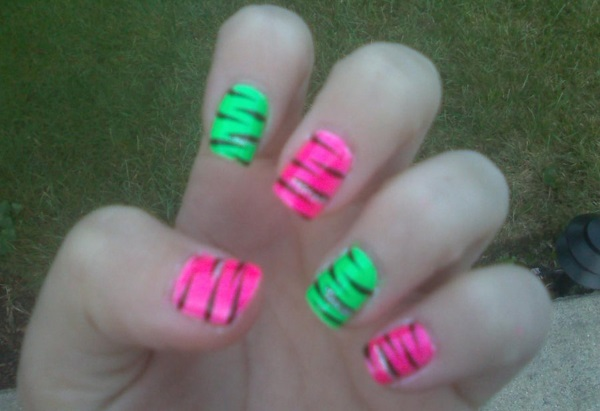 Neon green nail designs images nail art and nail design ideas nail art designs pink and green hot pink and lime green nails nail art designs pink prinsesfo Image collections