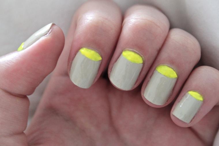 Neon Yellow Half Moon Nail Art - Mat Blue And Mint Half Moon Nails. Leopard Print Half Moon Nail