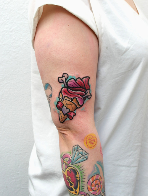 new school ice cream tattoo on right half sleeve for girls