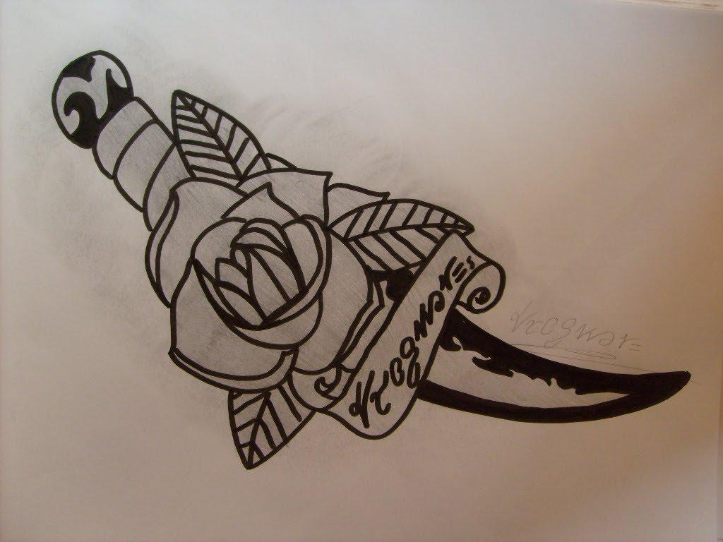 1d933e15295f9 Nice Tribal Dagger Tattoo Design By Tieskevo