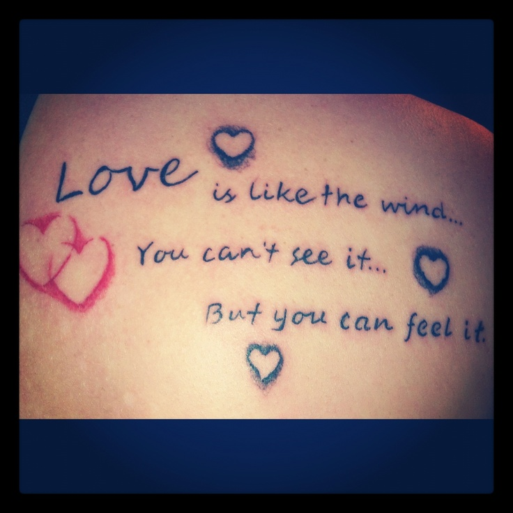 Nice Love Quote With Hearts Shape Tattoo