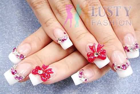 55 most beautiful japanese nail art design ideas pink 3d bows and rhinestones design japanese nail art prinsesfo Image collections