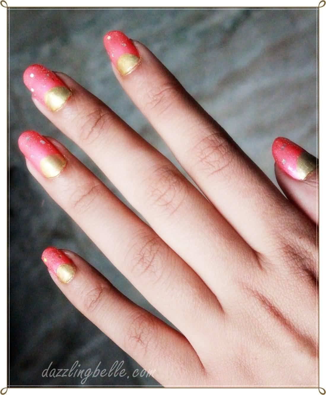 Pink And Gold Half Moon Nail Art