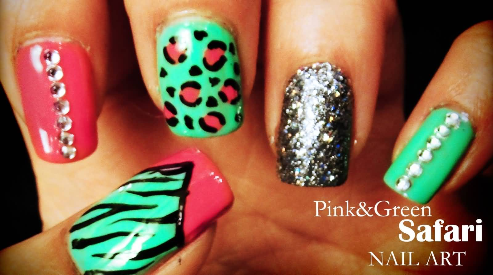 Nail art designs pink and green neon stones nail art design nail art designs pink and green pink and green animal print nail art prinsesfo Gallery