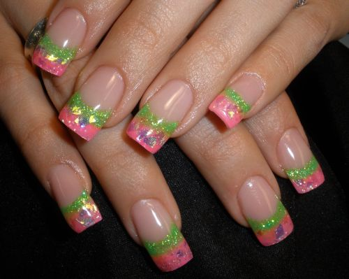 65 best green and pink nail art designs pink and green glitter gel french tip nail art prinsesfo Images