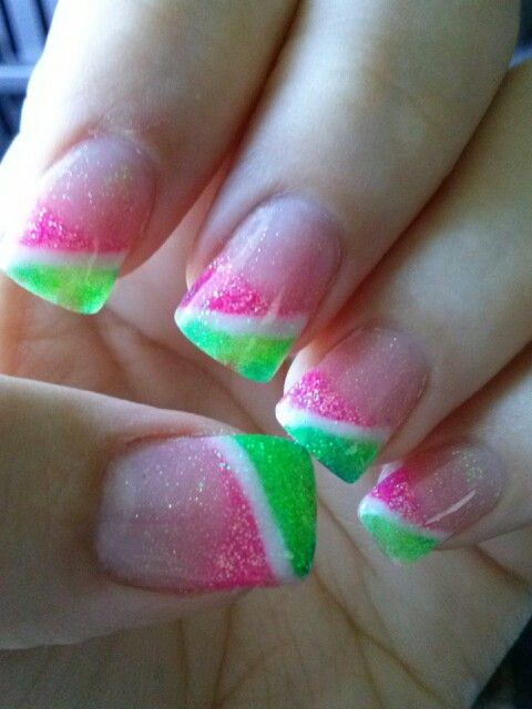Pink And Green Glitter Tip Nail Art Design Idea - 65 Best Green And Pink Nail Art Designs