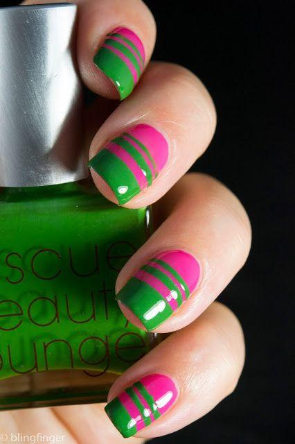 65 best green and pink nail art designs pink and green neon nail art design idea prinsesfo Gallery