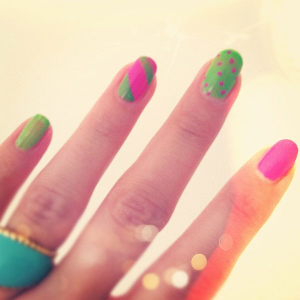 65 best green and pink nail art designs pink and green polka dots and strips design nail art prinsesfo Gallery