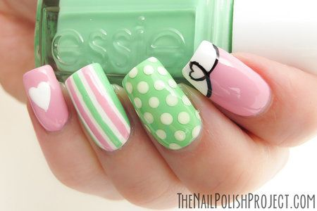 65 best green and pink nail art designs pink and green stripes design nail art prinsesfo Gallery