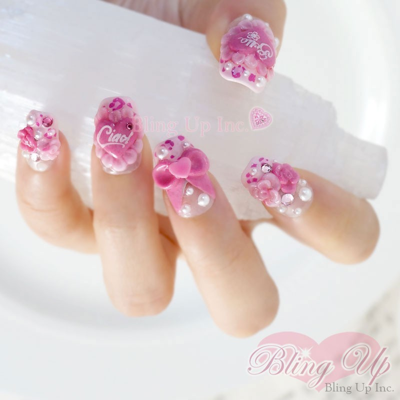 Pink Flowers And Bows Japanese Nail Art
