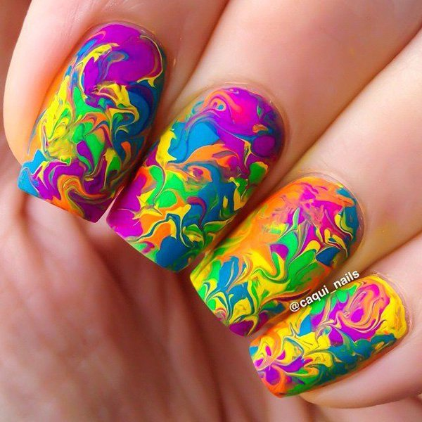 65 best green and pink nail art designs pink green and blue water marble nail art design idea prinsesfo Choice Image