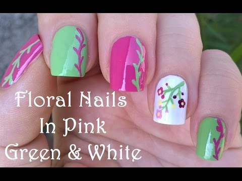 Pink green and white floral nail art tutorial prinsesfo Gallery