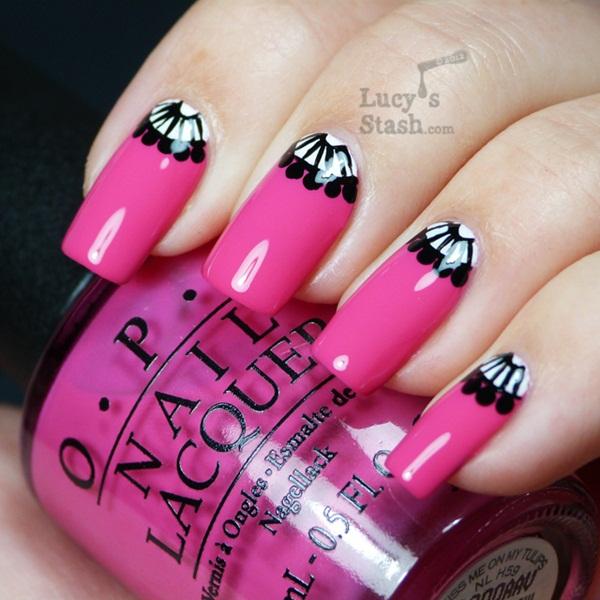 Black White Pink Nail Art Designs: 60 Latest Half Moon Nail Art Designs