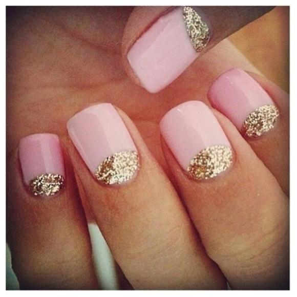 Pink Nails With Gold Glitter Half Moon Nail Art - 60 Latest Half Moon Nail Art Designs